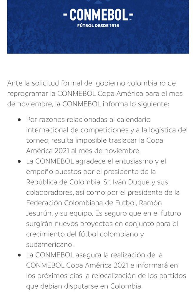 Conmebol negó la solicitud de Colombia para postergar la Copa América: ¿Argentina única sede? | Canal Showsport