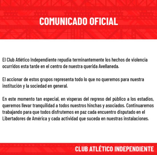 Barras de Independiente a los tiros en pleno centro de Avellaneda: el comunicado del club   Canal Showsport