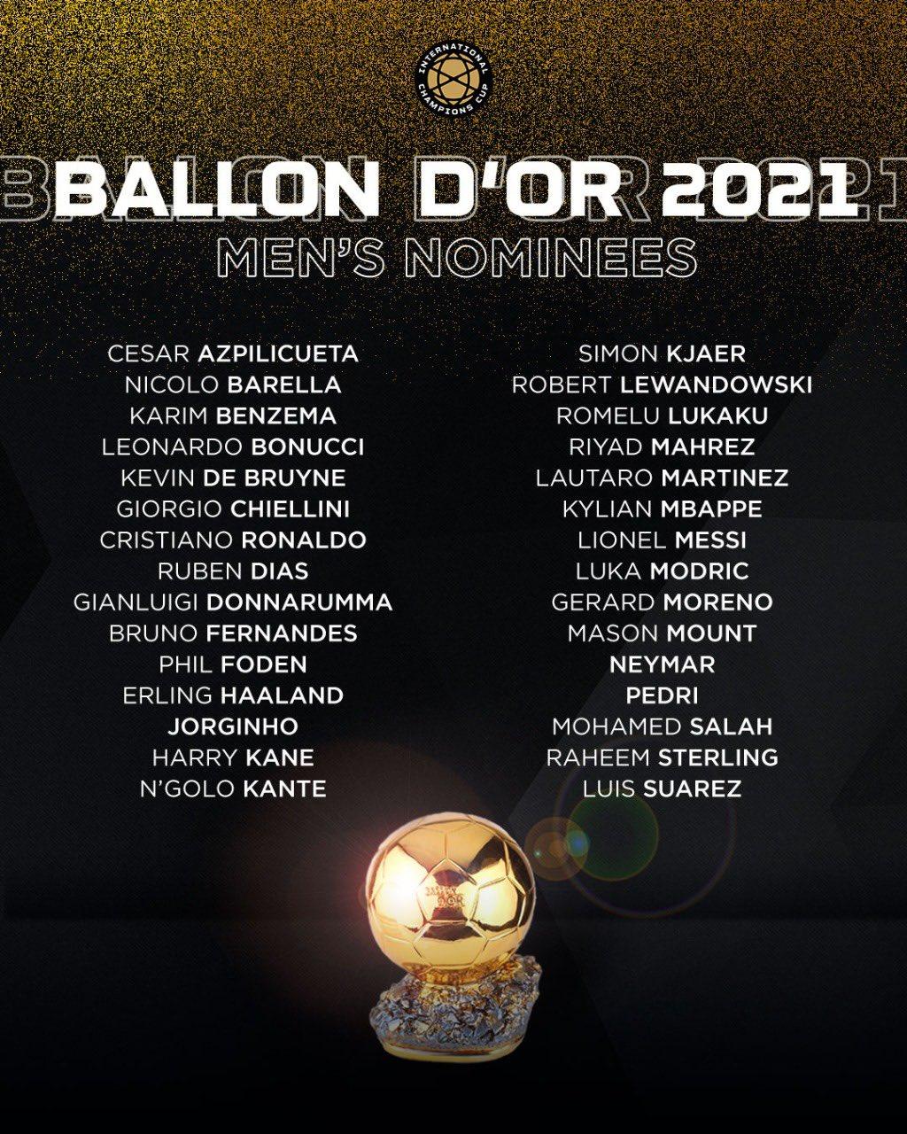 Los nominados al Balón de Oro 2021   Canal Showsport